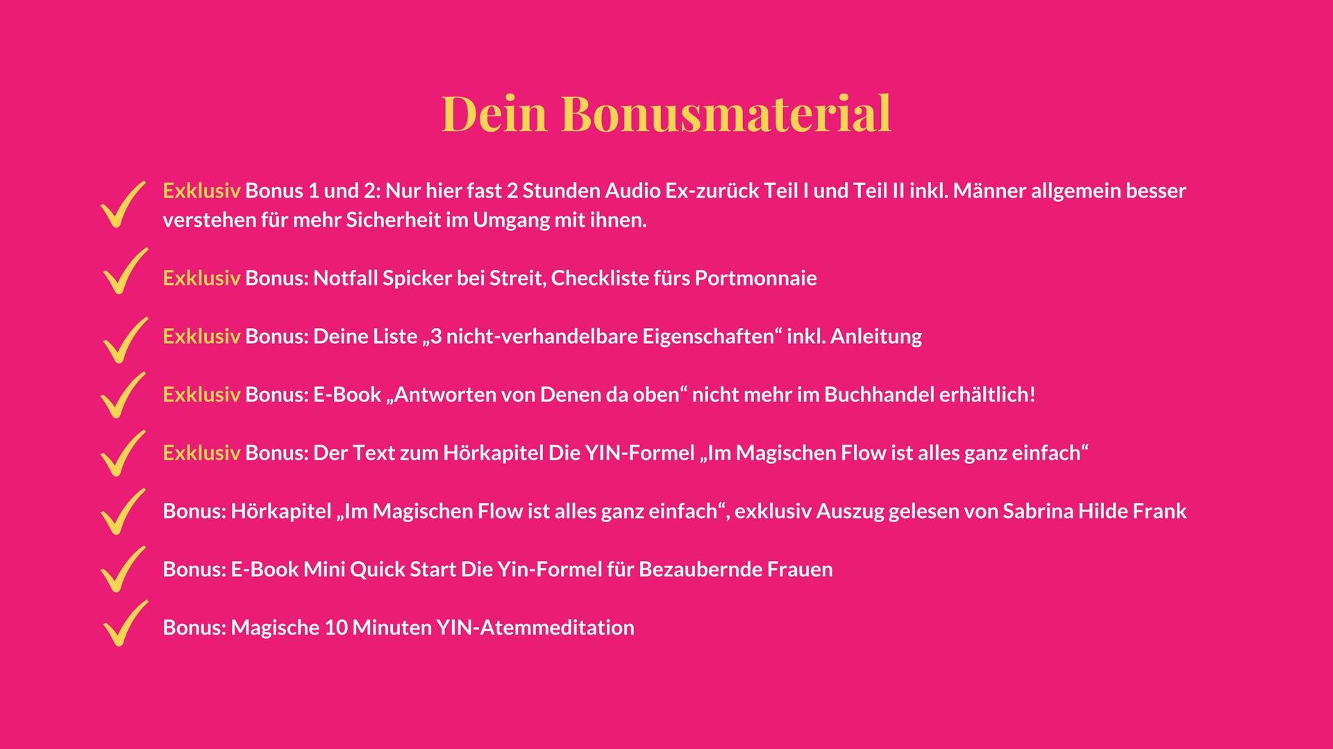 Textfeld Sales Page Bonusmaterial Checkmarks